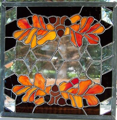 Stained Glass Oak Leaves And Acorns ~ 11 Bevels ~ Hand Cut Glass ~Rustic Decor