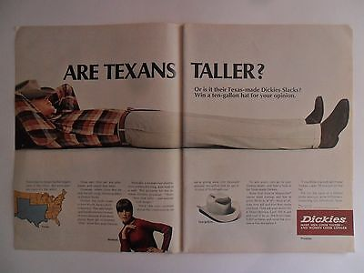 1966 Print Ad Dickies Clothes Fashions ~ Are Texans Taller? 10-Gallon Cowboy Hat
