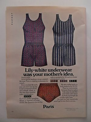 1972 Print Ad Paris Men's Underwear Briefs ~ Your Mother's Idea