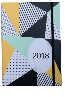 2018 Diary Cumberland Fashion Printed with Elastic A5 Week to View 4014-5 Geo