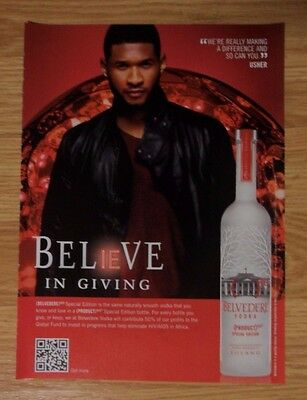 2011 Print Ad BELVEDERE Vodka ~ USHER Music Star Believe in Giving