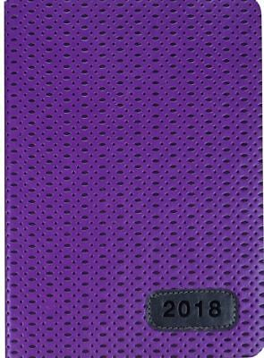 2018 Diary Cumberland Fashion PU Embossed A5 Week to View 4015-2 Purple Woven