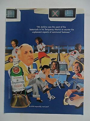 1998 Print Ad Tanqueray Gin Distilled English ~ Mr. Jenkins Bowling Alley