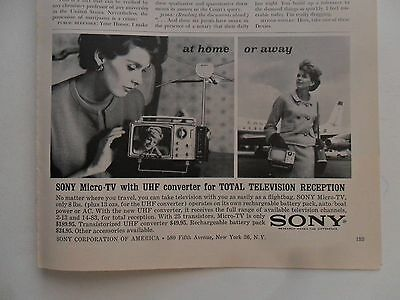 1963 Print Ad Sony Portable Micro-TV Television ~ At Home or Away