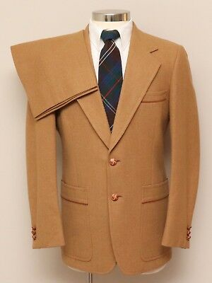 Vintage Mens 40L Hart Schaffner Marx 2 Piece Gold Tan Wool Suit