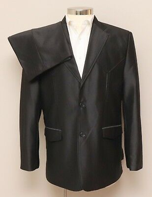 Vintage Mens 42R First Western Wear 2 Piece Black Western Suit