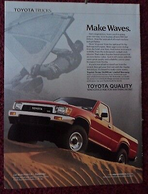 1989 Print Ad Toyota V6 4x4 Deluxe Pickup Truck ~ Make Waves Windsailing Surfer