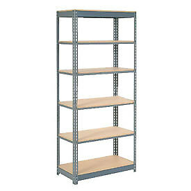 "Heavy Duty Shelving 36""W x 18""D x 72""H With 6 Shelves, Wood Deck"