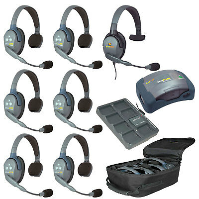 Eartec UltraLITE 7-Person HUB +1 max4G Single + 6 Single Headsets FREE BAG