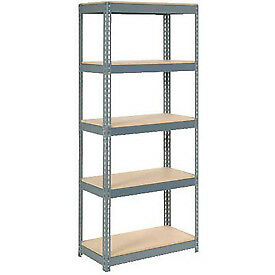 """Extra Heavy Duty Shelving 36""""W x 18""""D x 84""""H With 5 Shelves, Wood Deck"""