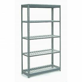 """Extra Heavy Duty Shelving 48""""W x 12""""D x 96""""H With 5 Shelves, Wire Deck"""