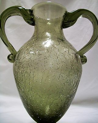 Vintage Bohemian Glass Twin Handled Vase Green  Crackle Finish Exc Con