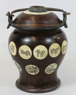 Chinese Rosewood Tea Caddy with Inlaid.