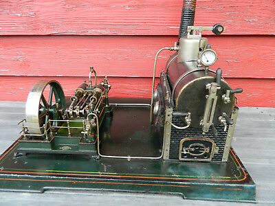Seltene große Doll Doppelzylinder Dampfmaschine, steam engine, machine vapeur