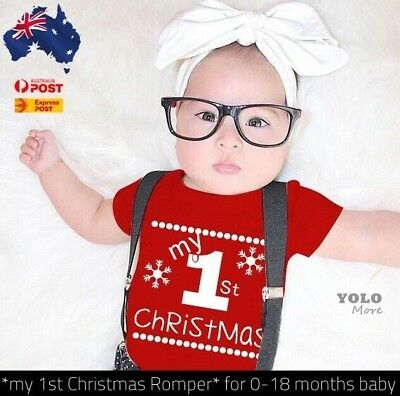 Baby Infant My First Christmas Romper Jumpsuit Outfits Clothes Kris Kringle Gift