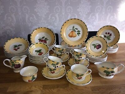 Churchill China Somerset Summer Fruits Huge Dinner Service Set Plates Bowls Cups
