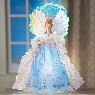 Fiber Optic Winter Angel Lighted Gown with Intricate Lace and Silver Glitter