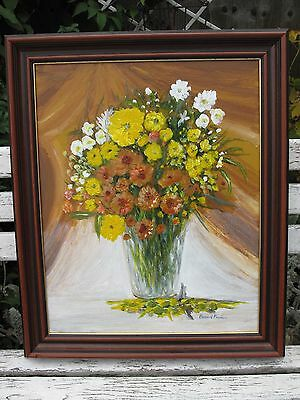 Original Oil Painting On Canvas  Flowers In Vase Signed Preston Still Life