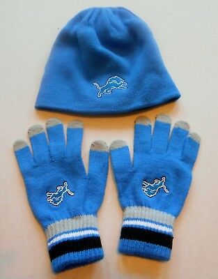 Detroit Lions Reversible Knit Winter Hat Gloves Set Boys Youth 8-20 Nwt