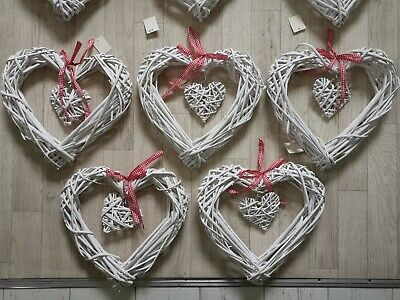 30cm LED Warm White White Wicker Spring Hanging Hearts Wreath Flash & Static