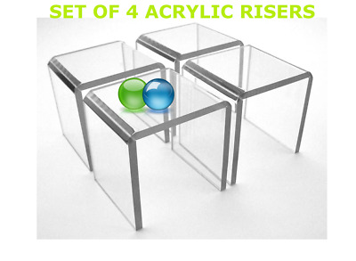 Set of 4 Clear Acrylic Plexiglass Square Riser Jewelry Display Stands