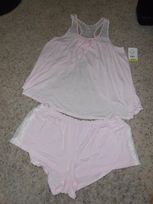 New Pip & Vine Maternity Pajama Set Size Large 2pc Pink Lace Rosie Pope