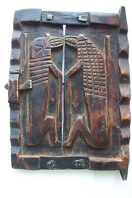 Antique Dogon Granary Wood Door Relief Carved Symbolic Sculpted Figures Mali
