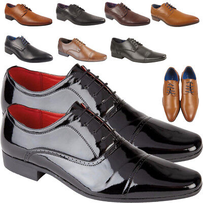 Mens Black Lace Up Leather Lined Patent Dress Wedding Shoes Formal Fashion New