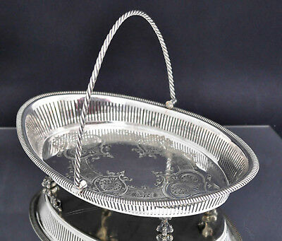 Antique Ornate Sheffield Silver Plated Swing handle Fruit Bowl on Claw Feet