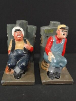 Vintage Loring's SHANTY Wickford RI Old Fishermen at Pier Painted Lead BOOKENDS