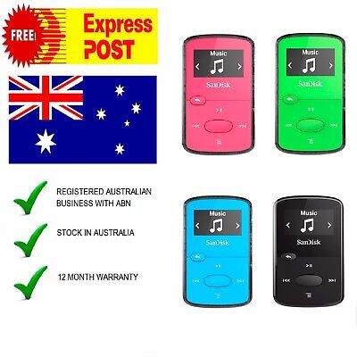 Sandisk Clip 8Gb Mp3 Player Oled Music Headphones Black Pink Green Blue Fm Radio