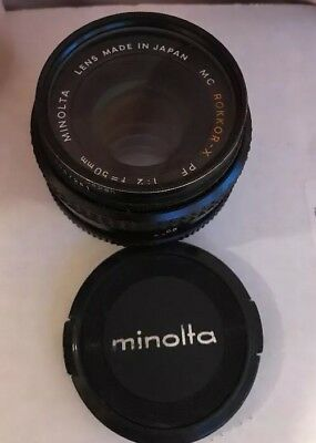 Minolta MC Rokkor-X PF 1:2 50mm Camera Lens Made in Japan With Cap