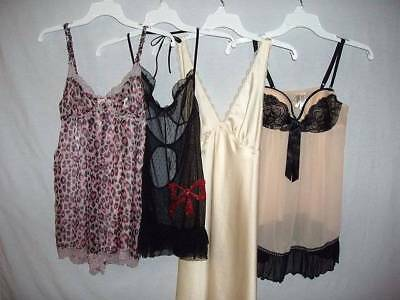 Lot 4 Pc Romper 1 Pc Big Sparkle Bow Babydoll Lacy Chiffon Nightgown S   #13