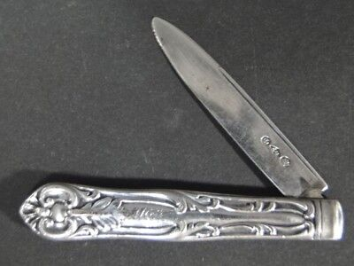 Antique ALBERT COLES Coin Silver Pocket Fruit KNIFE