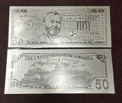 Stunning Detail .999 Silver $$$ US Banknote $50 Fifty Dollar Bill  W/ Sleeve