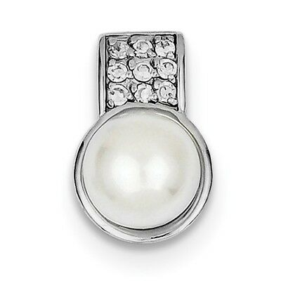 Sterling Silver Rhodium Pltd CZ White FW Cultured Pearl Pendant/ (0.6INx0.4IN)