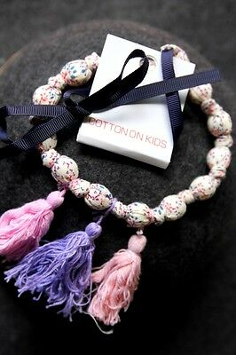 Cotton On Kids Toddler Girl Floral Flower Fabric Bead Necklace Accessary New