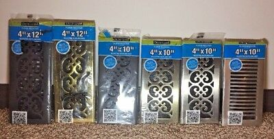 Decor Grates Louvered Metal Floor Register Vent Black Brass Nickel etc 4x10 4x12