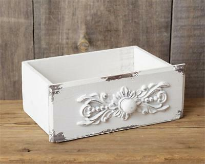 New Shabby French Chic White Antique Style Drawer Tool Box Wood Caddy Basket