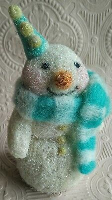 Snowman - Needle felted glazed wool, teal & white scarf Christmas Ornament