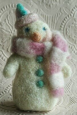 Snowman - Needle felted glazed wool, pink & white scarf Christmas Ornament