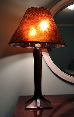 Stickley Arts & Crafts Mission Cherry Lamp w/ Corbel Base & Mica Shade