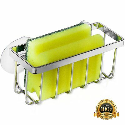 Stainless Steel Kitchen Sink Caddy Sponge Holder With Strong Suction Chrom