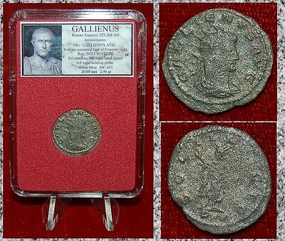Roman Empire Coin GALLIENUS Sol Holding Globe On Reverse Silver Antoninianus