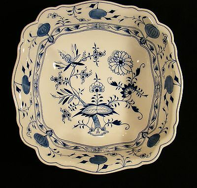 Meissen Porcelain First Choice Onion Pattern Blue & White Large Square Bowl 12""