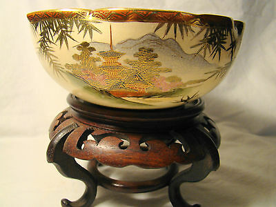Signed Bizan Kyoto Satsuma Bowl 6 1/2 in. dia 19th c. Bamboo & Landscape