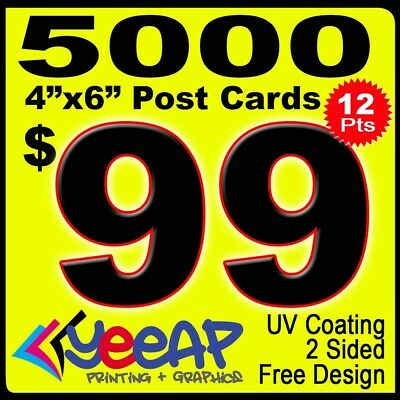 "5000 Postcards 4 x 6"" printing, 12 pts, UV Coating, 2 Sides, 24hrs Production"