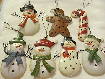 Metal Christmas Ornament Snowman, gingerbread man, candy cane Mixed Lot of 10