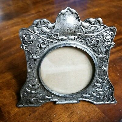 Vintage  Ornate Cast Metal PEWTER Easel Picture  FRAME