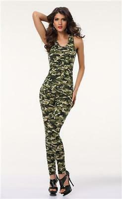 Camouflage Off the Shoulder O-Neck Sleeveless top and Camouflage Pants